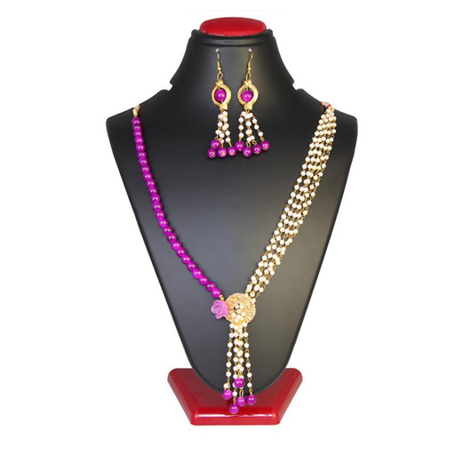 Kriaa Purple Beads Gold Plated Necklace Set