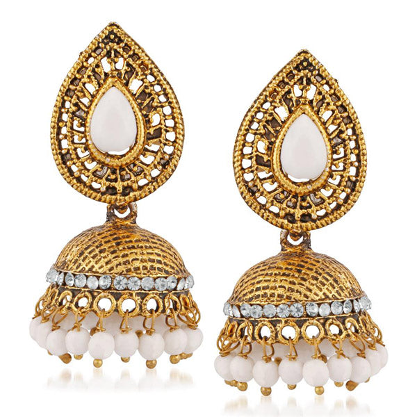 Kriaa White Beads And Stone Gold Plated Jhumki Earrings