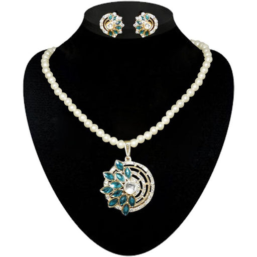 Kriaa Blue Kundan Stone Gold Plated Pearl Necklace Set