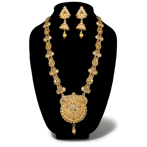 Kriaa Gold Plated Brown Austrian Stone Haram Necklace Set