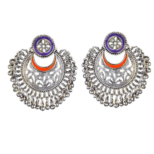 Kriaa Rhodium Plated Purple Meenakari Afghani Earrings