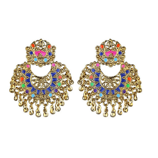 Kriaa Multicolor Meenakari Gold Plated Afghani Earrings