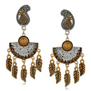 Kriaa Two Tone Plated Dangler Earrings