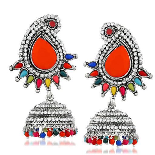 Kriaa Multi Pota And Austrian Stone Jhumki Earrings