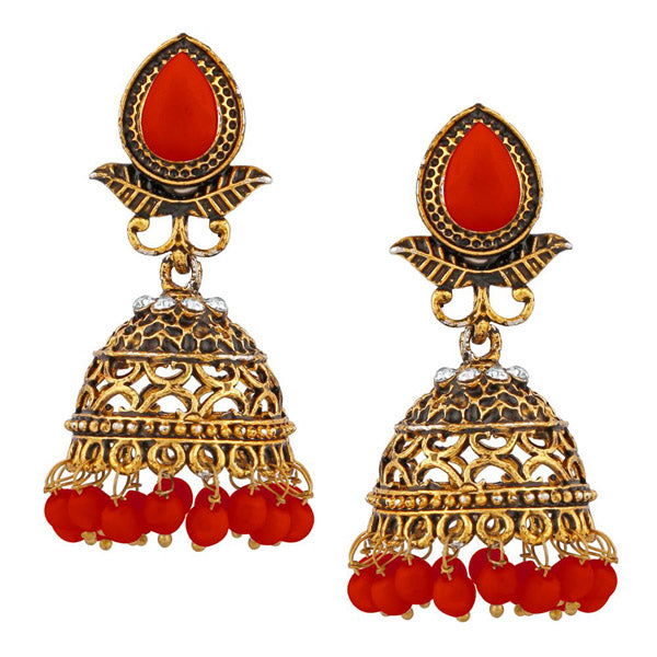 Kriaa Gold Plated Red Beads Jhumki Earrings