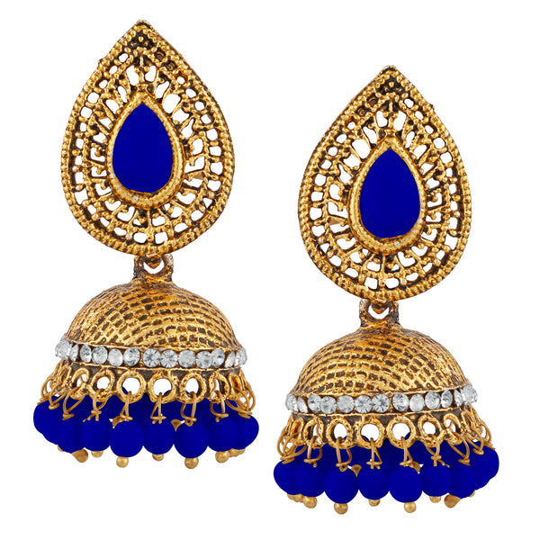 Kriaa Blue Beads And Stone Gold Plated Jhumki Earrings