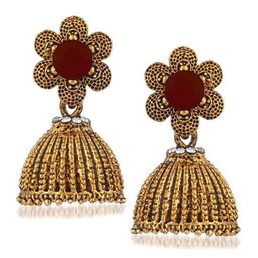 Kriaa Maroon Beads And Stone Gold Plated Jhumki Earrings