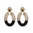 Kriaa Antique Gold Plated Black Austrian Stone Dangler Earrings