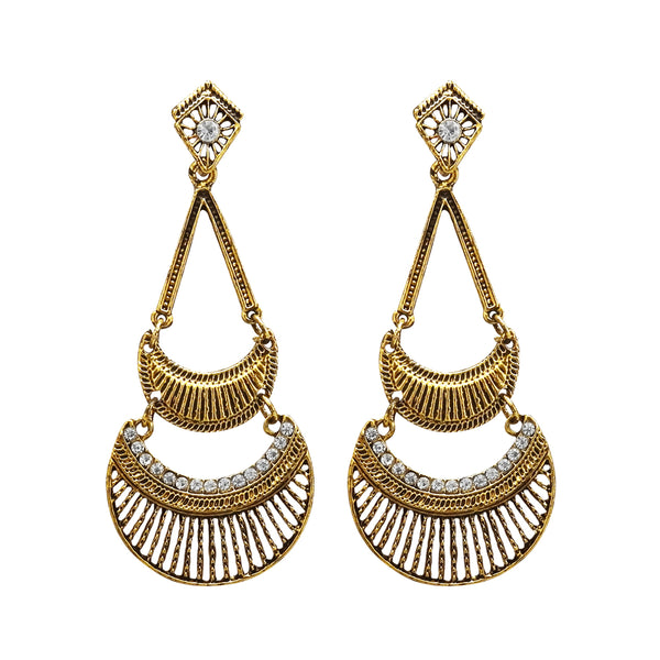 Kriaa Antique Gold Plated White Austrian Stone Dangler Earrings