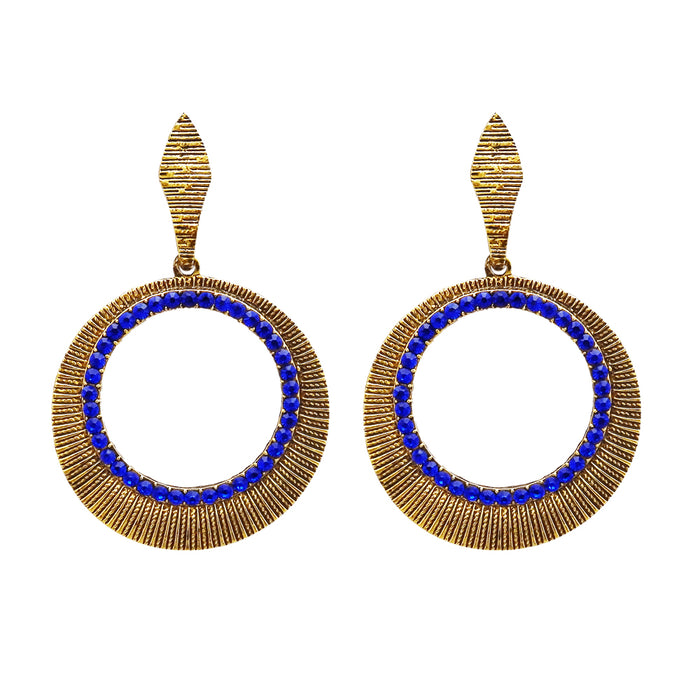 Kriaa Antique Gold Plated Blue Austrian Stone Dangler Earrings