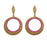 Kriaa Antique Gold Plated Pink Austrian Stone Dangler Earrings