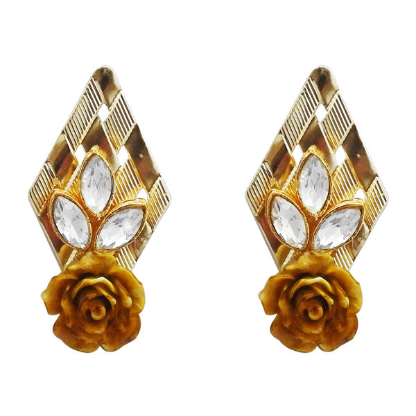 Kriaa Gold Plated Brown Resin Stone Floral Dangler Earrings