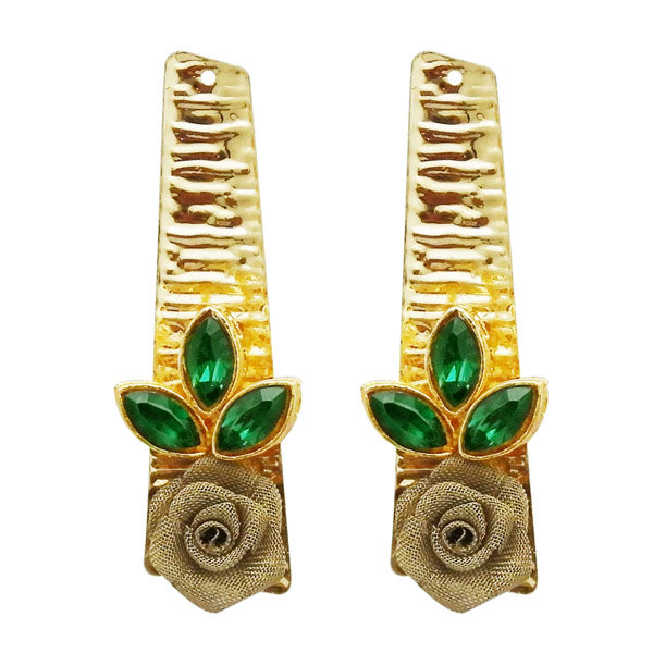 Kriaa Gold Plated Green Resin Stone Floral Dangler Earrings
