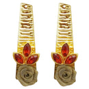 Kriaa Maroon Resin Stone Gold Plated Floral Dangler Earrings
