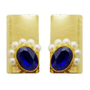 Kriaa Blue Resin Stone Pearl Gold Plated Dangler Earrings