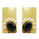 Kriaa Gold Plated Black Resin Stone Pearl Dangler Earrings