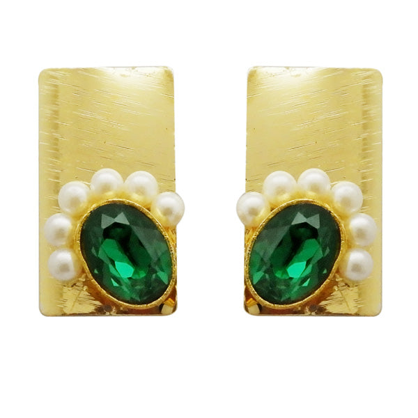 Kriaa Gold Pated Green Resin Stone Pearl Dangler Earrings