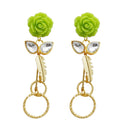 Kriaa Green Resin Stone Gold Plated Floral Dangler Earrings