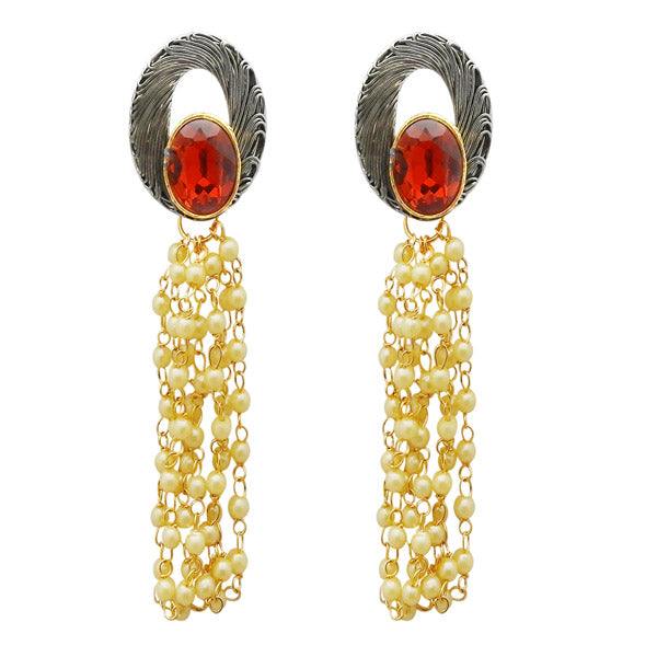 Kriaa Maroon Resin Stone Gold Plated Pearl Dangler Earrings