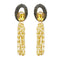Kriaa Gold Plated Brown Resin Stone Pearl Dangler Earrings