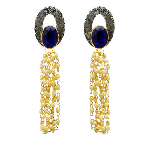 Kriaa Blue Resin Stone Gold Plated Pearl Dangler Earrings