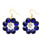Kriaa Gold Plated Blue Resin Stone Dangler Earrings