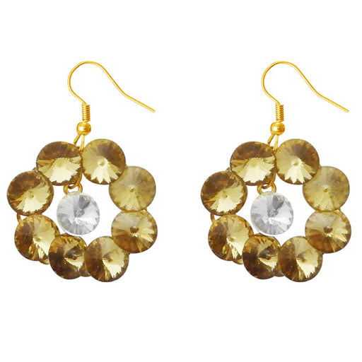 Kriaa Brown Resin Stone Gold Plated Dangler Earrings