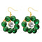 Kriaa Green Resin Stone Gold Plated Dangler Earrings