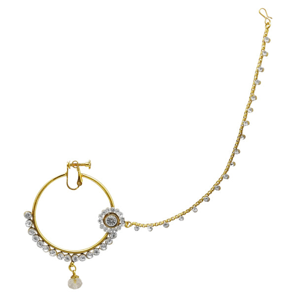 Kriaa Austrian Stone Gold Plated Chain Nose Ring