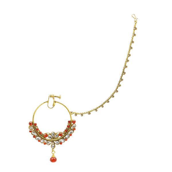 Kriaa Red Stone Gold Plated Chain Nose Ring