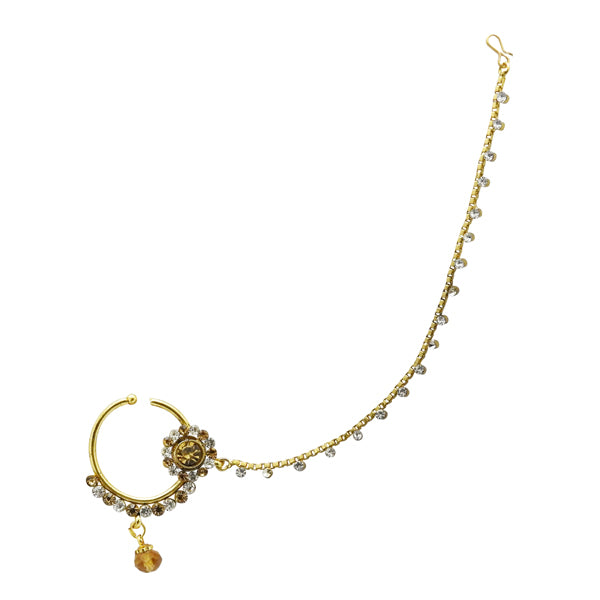 Kriaa Brown Stone Gold Plated Chain Nose Ring