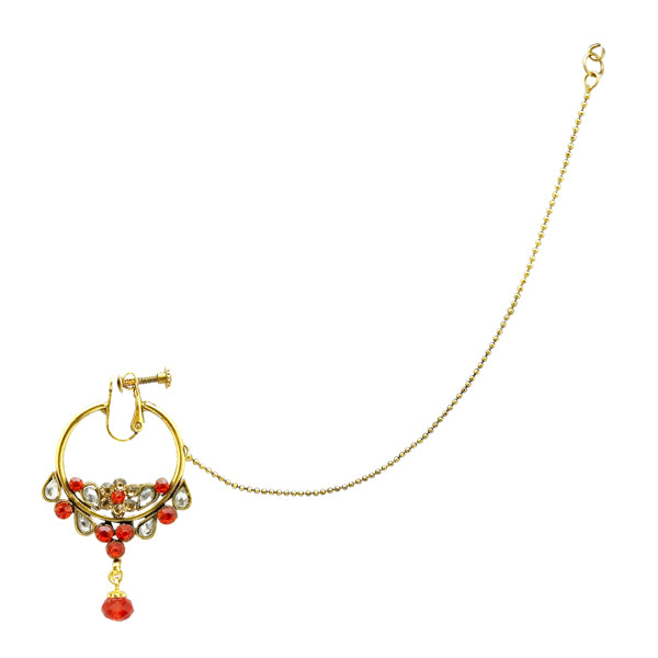 Kriaa Red Stone And kundan Chain Nose Ring