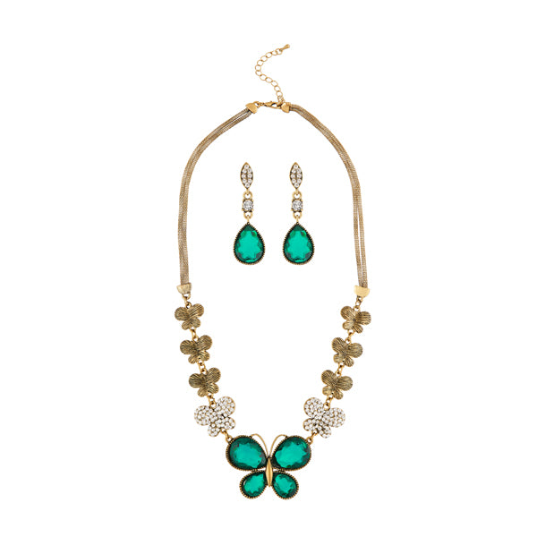 Kriaa Antique Gold Plated Green Austrian Stone Necklace Set