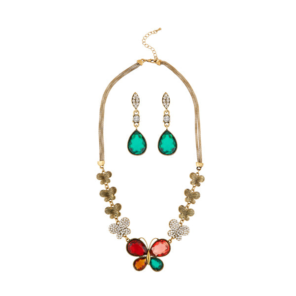 Kriaa Multicolor Austrian Stone Antique Gold Plated Necklace Set