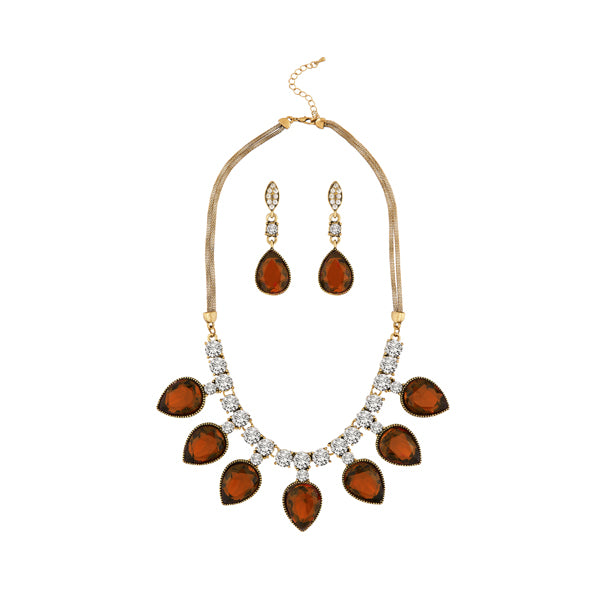 Kriaa Antique Gold Plated Brown Austrian Stone Necklace Set