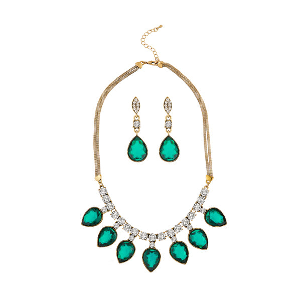 Kriaa Green Austrian Stone Antique Gold Plated Necklace Set