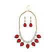 Kriaa Antique Gold Plated Maroon Austrian Stone Necklace Set