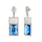 Kriaa Blue Crystal Stone Silver Plated Dangler Earrings