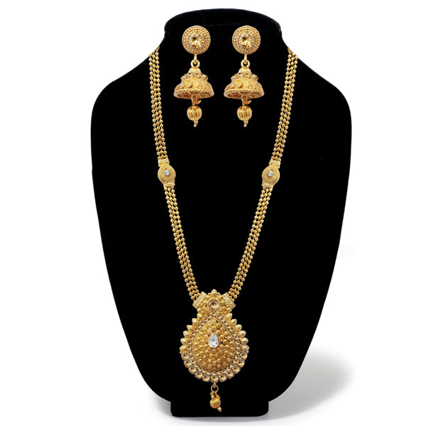 Kriaa Gold Plated Austrian Stone Long Haram Necklace Set