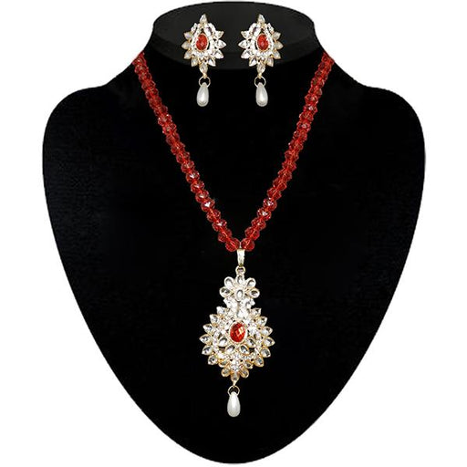Kriaa Maroon Kundan Stone Necklace Set - 2105412 - ES