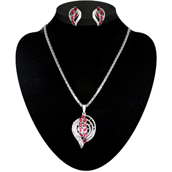 Kriaa Pink Austrian Stone Silver Plated Pendant Set