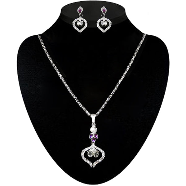 Kriaa Silver Plated Purple Stone Pendant Set