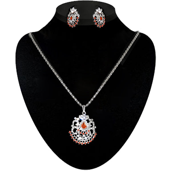 Kriaa Orange Austrian Stone Silver Plated Pendant Set