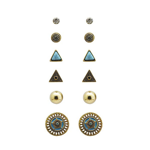Kriaa Antique Gold Plated Stud Earrings Combo Set
