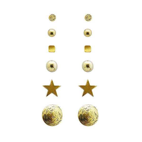 Kriaa Gold Plated Stud Earrings Combo Set