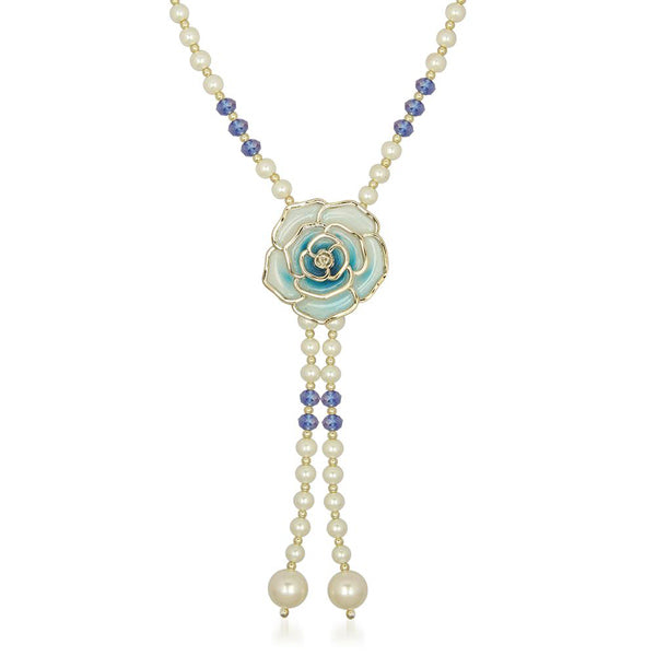 The99Jewel Blue Floral Pearl Gold Plated Necklace