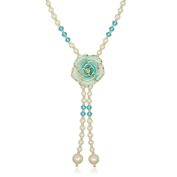 The99Jewel Gold Plated Blue Floral Pearl Necklaces