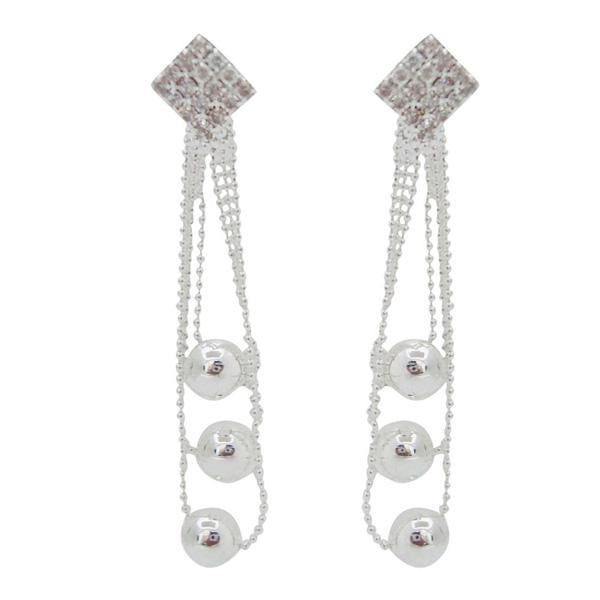 The99Jewel Rhodium Plated Austrian Stone Dangler Earrings