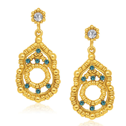 Urthn Blue Austrian Stone Gold Plated Dangler Earrings