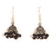 Kriaa Black Beads Rhodium Plated Jhumkis